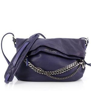Jimmy Choo Purple Saddle Biker Chain Crossbody Bag